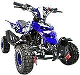 FunBikes Kids Mini Quad Bike 49cc 50cc Petrol Quad - Ride On ATV Midi (Blue)