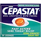 Cepastat Extra Strength Lozenges, Sugar Free, 18-Count Packages (Pack of 6)