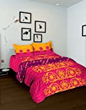Tomatillo Nature Pure Cotton Double Comforter - Floral, Pink and Yellow