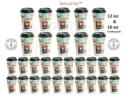 NEW! 12 Oz & 16 Ounce Combo Pack Ultra Premium Disposable Coffee Cups with No Leak Lids Beautiful Design Patented Double Wall Textured Insulated Hot Cups for Events Party Office Home - Made in USA