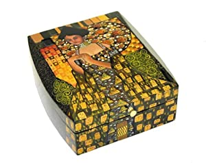 Coromandel COPPER LADY Hand Carved,Hand Painted Wooden Box 9x8x3.5""""