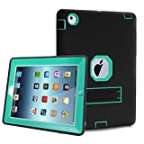 iPad 2 Case,iPad 3 Case,iPad 4 Case,TOPSKY(TM)[Kickstand Feature],Shock-Absorption / High Impact Resistant Hybrid Three Layer Armor Defender Protective Case Cover with Stylus Pen,Black/Green