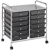 "ECR4Kids 12-Drawer Mobile Organizer, 25.75"" H, Smoke"