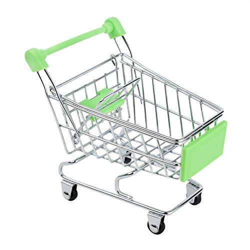 Kobwa(TM) Green Mini Supermarket Handcart Shopping Utility Cart Mode Desk Storage Toy With Kobwa's Keyring