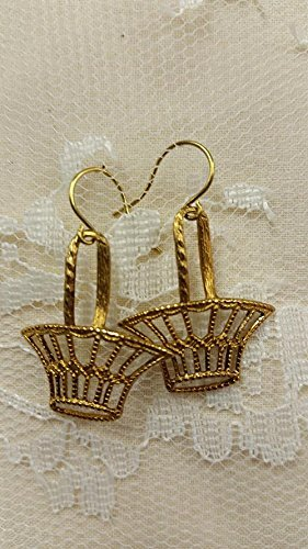 Filigree Basket Dangle Earrings Gold-plated (Filigree Basket compare prices)