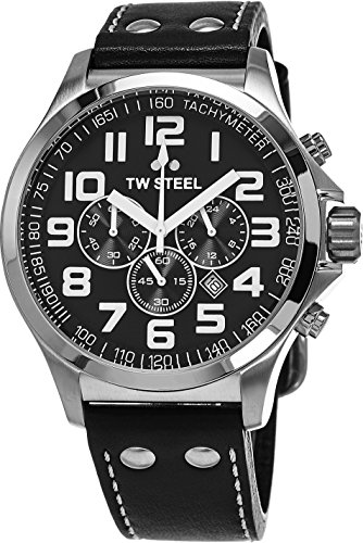 TW Steel Pilot Watch - Stainless Steel Black Dial Date 24-hour TW Steel Watch Mens - Black Leather Band 45mm Chronograph Watch TW412 - 51nL6Ip M L - TW Steel Pilot Watch – Stainless Steel Black Dial Date 24-hour TW Steel Watch Mens – Black Leather Band 45mm Chronograph Watch TW412