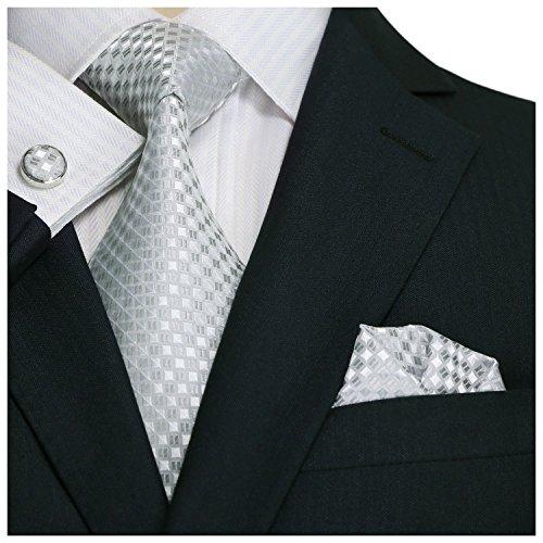 Landisun SILK Various Plaids & Checks Mens SILK Tie Set: Necktie+Hanky+Cufflinks