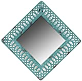 Faux Distressed Metal Blue Square Mirror 8 3/4Dx