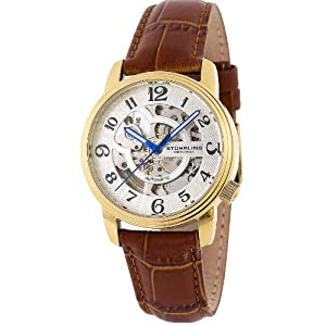 Stuhrling Original Women's Delphi Oracle (Ladies) Automatic Skeleton Goldtone Watch - 107BL.1235T2