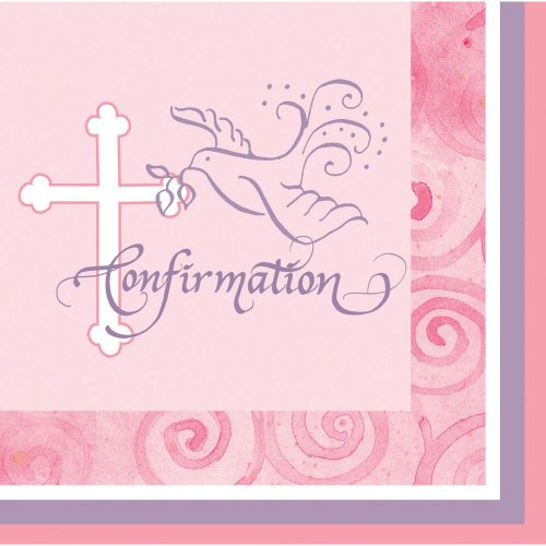 Creative Converting Faithful Dove Cross Beverage Confirmation Napkins, Pink, 16 Count front-549710
