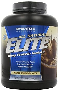 Dymatize Nutrition Elite Natural Whey Protein Isolate, Rich Chocolate, 5-Pounds by Dymatize (English Manual)