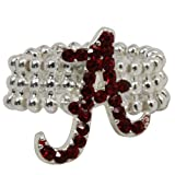 NCAA Alabama Crimson Tide Team Logo Rhinestone Stretch Ring at Amazon.com