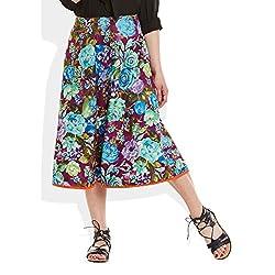 Womens Apparels Cotton Printed Medium Length Skirt A-Line, Medium,W-CMLSM-3037