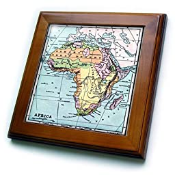 3dRose ft_163543_1 Image of Vintage Map of Africa in Color-Framed Tile Artwork, 8 by 8-Inch