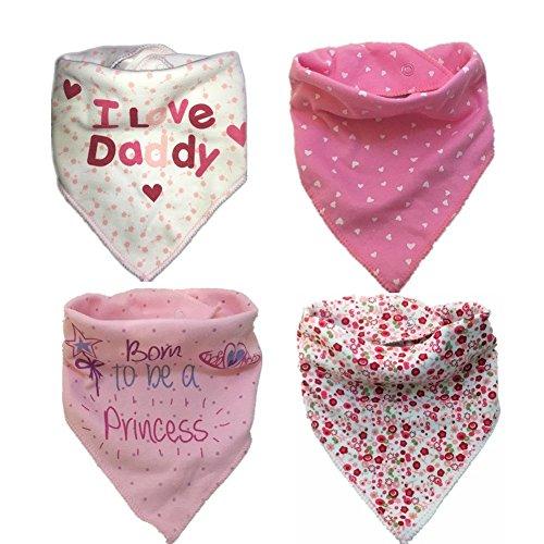 bavoirs-bandana-pour-bebe-unisexe-de-bave-4-bavoirs-en-coton-absorbant-rose-avec-fermoirs