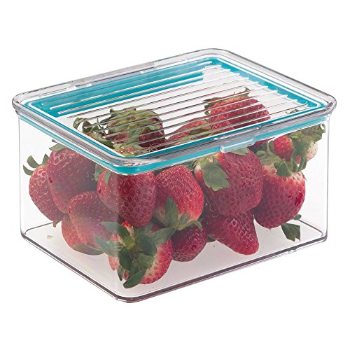 mDesign contenitore organizzatore dispensa alimentare per cucina con coperchio ermetico incernierato - 1 litro, Trasparente