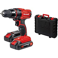 Einhell trapano avvitatore a batteria TC-CD, 18-2 Li (2 batterie agli Ioni di Litio, 18 V, 1,3 Ah, 2 marce, 38 nm, luce LED, valigetta)