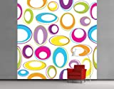 WTD Fleece Wall Mural Happy Eggs Wallpaper, Fleece Mural, Colourful, Hippi, Retro, Sixties, Seventies - Size: 3XL - 388x388cm - 4 parts