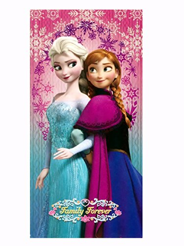Disney Beach Towel Frozen Ana And Elsa Pink Beach Towel 100% Cotton - Family Forever front-27407