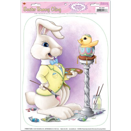 Easter Bunny Cling Party Accessory (1 count) (1/Sh)