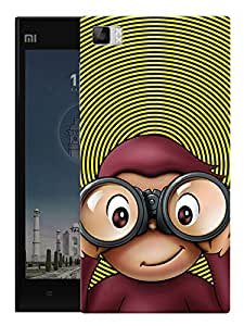 "Confused Quirky Monkey Printed Designer Mobile Back Cover For ""Xiaomi Redmi MI3"" By Humor Gang (3D, Matte Finish, Premium Quality, Protective Snap On Slim Hard Phone Case, Multi Color)"