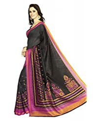 Inddus Exclusive Women Bhagal Puri Silk Printed Black Saree - B00OLYDNAU