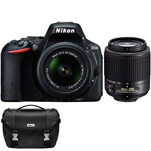 Nikon-D5500-Wi-Fi-Digital-SLR-Camera-18-55mm-G-VR-DX-II-AF-S-Zoom-Black-with-55-200mm-G-DX-AF-S-ED-Lens-Case