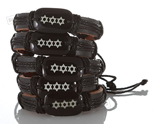 5- Stylish Jewish Cuff Star Of David Bangle Leather Bracelet Wristband Surfer