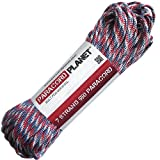 "Paracord Planet 100 550lb Type III ""Red; White; Blue"" Paracord"