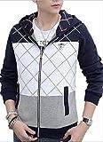 (プチプライム) Petit Prime パーカー ジップアップ メンズ フード カジュアル ストリート アウター きれいめ 羽織る 2色展開 長袖 大きいサイズ (L, ネイビー)