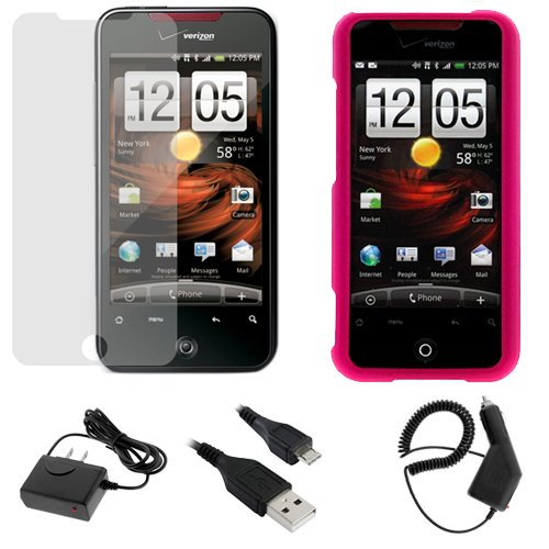GTMax 5 Pieces - Hot Pink Rubberized Hard Cover Case + LCD Screen Protector + Car Charger + Home Charger + USB Data Cable For HTC Droid Incredible Cell Phone