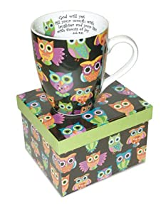 12 Oz. Owl ceramic Coffee Mug with Job 8:21 Bible Verse Gift Boxed by Nicole Brayden Gifts