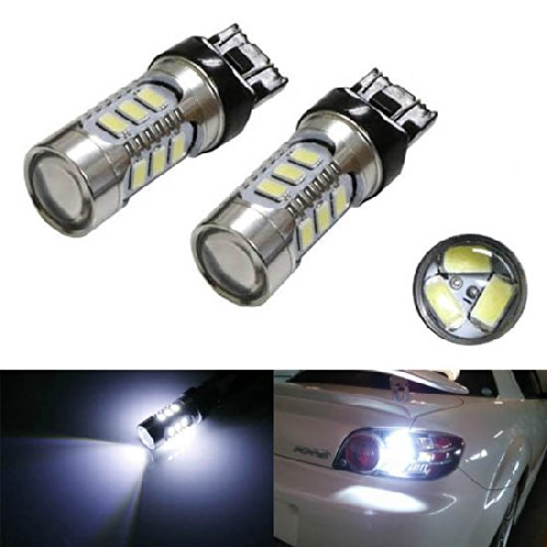 iJDMTOY (2) 360° High Power 15-SMD 7440 7441 7444 T20 LED Bulbs For Car Backup Reverse Lights, Xenon White image