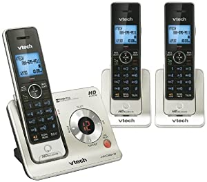 Vtech DECT LS6425-3 6.0 3-Handset Cordless Phone System with Digital Answering Machine, Handset Speakerphones, Voice Announce Caller ID