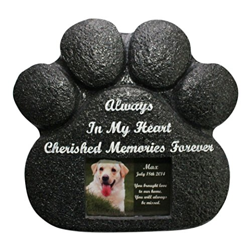 Paw Print Pet Memorial Stone  rear storage compartment