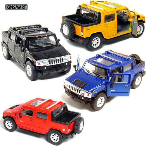 set-of-4-5-2005-hummer-h2-sut-140-scale-black-blue-red-yellow-by-kinsmart