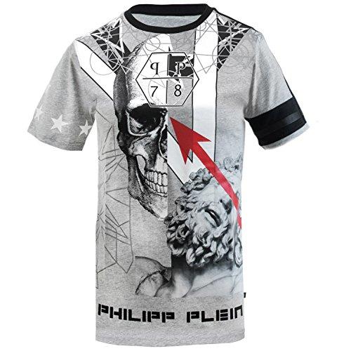 Philipp Plein Darted Grau T-Shirt Shirt Designer Shirt Bedruckt Für Herren und Männer Tailiert Slim Fit Slim Fit Grau Rundhals (M) thumbnail