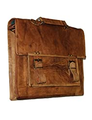 """HLC-(Handmade Leather Craft) 13"""" Real Leather Messenger Cross Body Satchel Brown Bag Briefcase VII"""