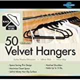 Closet Complete Ultra Thin No Slip Velvet Suit Hangers, Black, Set of 50 ~ Closet Complete