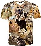 (ピゾフ)Pizoff メンズ 猫柄 Tシャツ 丸首半袖 ネコ柄 総柄 かわいい 原宿系 おもしろ 個性的 ストリート 快適 カジュアル V系 男女兼用 トップス Y1648-61-L