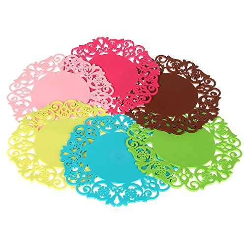 Best Buy! Yueton 12pcs Silicone Flower Lace Cute Colorful Flexible Non Slip Heat-resistance Coaster ...