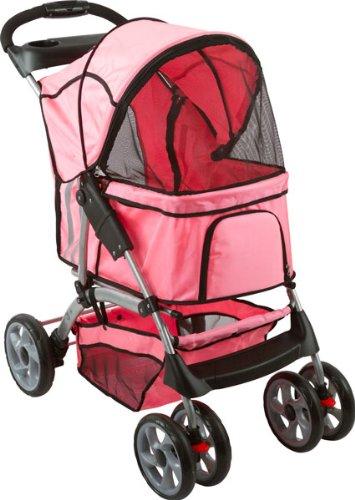Pink 4-Wheel Night Rider Pet Stroller Jogger front-485990