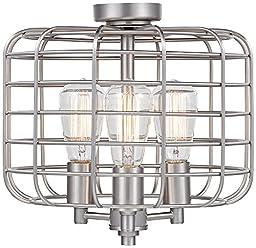 Industrial Cage Brushed Nickel Ceiling Fan Light Kit
