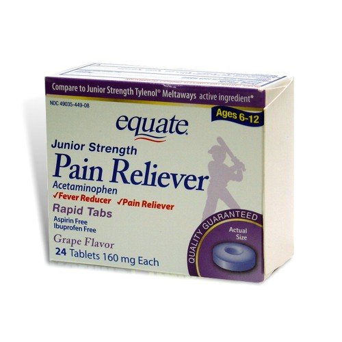 Equate, Junior Pain Reliever, Grape Flavor, Ages 6-12, 24 Meltaways Tablets, Acetaminophen 160 mg