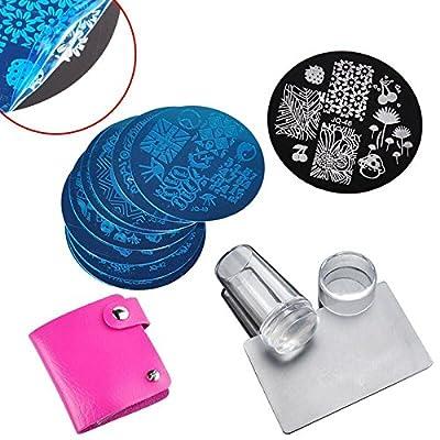 Biutee 10 Nail Plates +1 Stamper + 1 Scraper Nail Art Image Stamp Stamping Plates Manicure Template Nail Art Tools