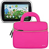 Evecase LeapFrog Epic/ LeapPad Platinum/ LeapPad Ultra XDI 7'' Kids Tablet Sleeve Case, Slim Neoprene Briefcase w/ Handle & Accessory Pocket/ Ultra Portable Travel Carrying Pouch Cover - Hot Pink