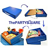 Super Mario Brothers Birthday Party Supplies Deluxe Party Box For 8 ( Dinner Plates | Dessert Plates | Tablecloth | Napkins | Hats | Cups | Forks | Candles ) Easy Carry Caddy by The Party SquareTM