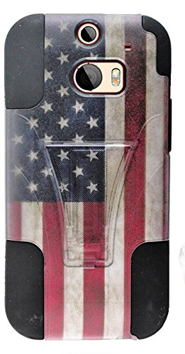 Mylife Rustic American Flag {Modern Design} Two Piece Neo Hybrid (Shockproof Kickstand) Case For The All-New Htc One M8 Android Smartphone - Aka, 2Nd Gen Htc One (External Hard Fit Armor With Built In Kick Stand + Internal Soft Silicone Rubberized Flex Ge