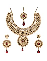 Shahenaz Jewellers 24 Ct Gold Plated Bridal Jewellery Set With CZ And Marquis Stones For Women - B00R2IOR8E