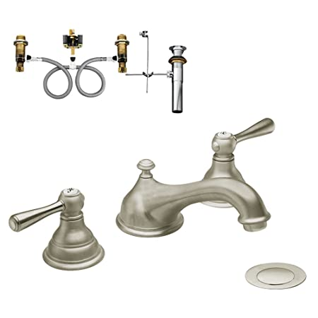Moen KLKI-D-T6105BN Kingsley Two-Handle Low-Arc Lavatory Faucet, Brushed Nickel